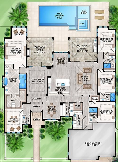 Floor plan Square Footage:4,124 sq. ft. First Floor:4,124 sq. ft. Garage:764 sq. ft. Floors:1 Bedrooms:4 Bathrooms:4 Half Baths:1 Garages:3 car