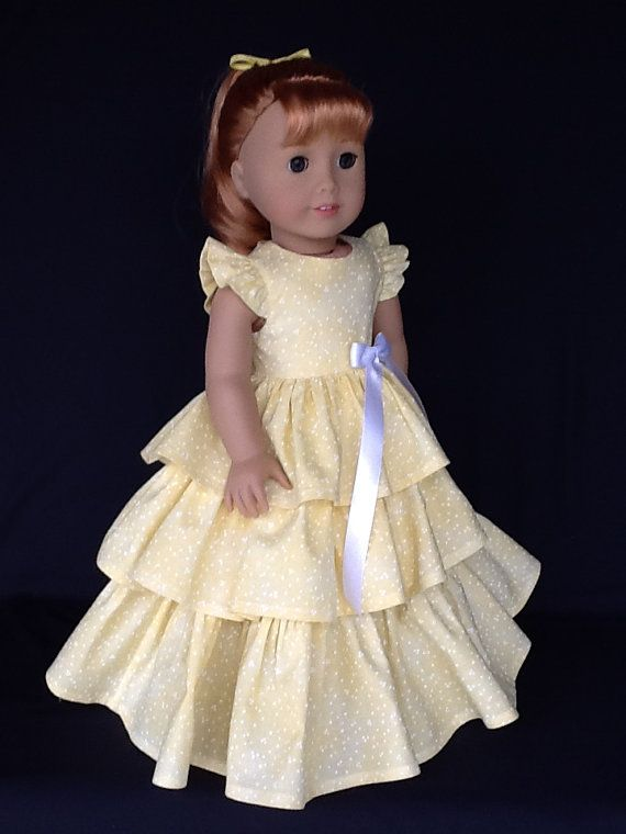 So stylish.  I used a yellow shaded cotton with tiny white dots for this dress.  The bodice is lined with self fabric and closes in the back with working buttons  and buttonholes.  The skirt has three rows of really full ruffles.  All seams have been surged for a neat finish. Made in my smoke free home.