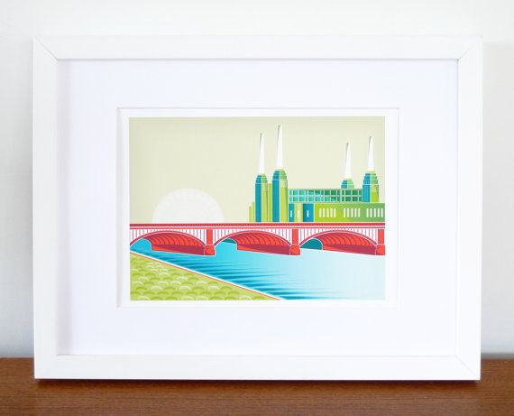 London Battersea Power Station  A4 Art Print by lauraamiss on Etsy, €10.00