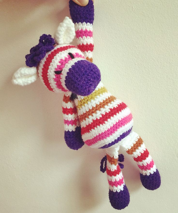 Crochet rainbow zebra. Edwards menagerie.