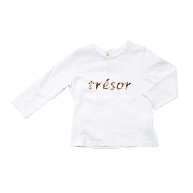 """Da 12 mesi a 12 anni - Bambina - Maglia in cotone a manica lunga. Tinta unita, girocollo. Scritta """"Tresor"""" sul petto, realizzata con paillettes dorate."""