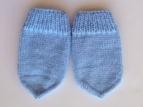 Hand knitted baby thumbless mittens newborn 0-12 by olinnell