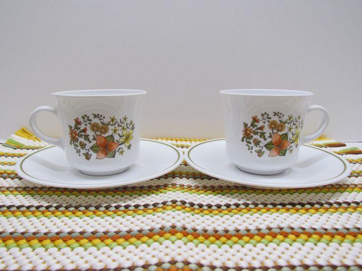 Vintage Corelle 'Indian Summer' Cups & Saucers, 1977-1985, Orange Gold Green Brown Wildflowers, Beverageware, Coffee Tea Mugs by GrammysGoodys on Etsy
