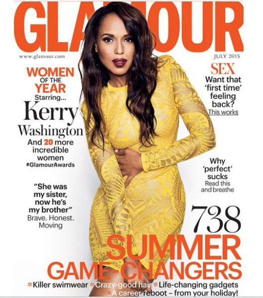 Kerry Washington Rocks Long Strands In Glamour Magazine UK July 2015