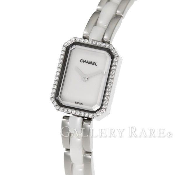 シャネル プルミエール ダイヤベゼル 約0.26ct SS ホワイトセラミック H2132 CHANEL 腕時計 レディース