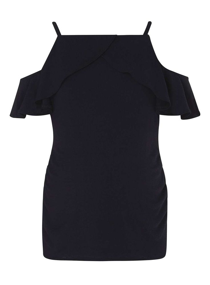 Womens **Maternity Navy Ruffle Tie Cold Shoulder Top- Blue