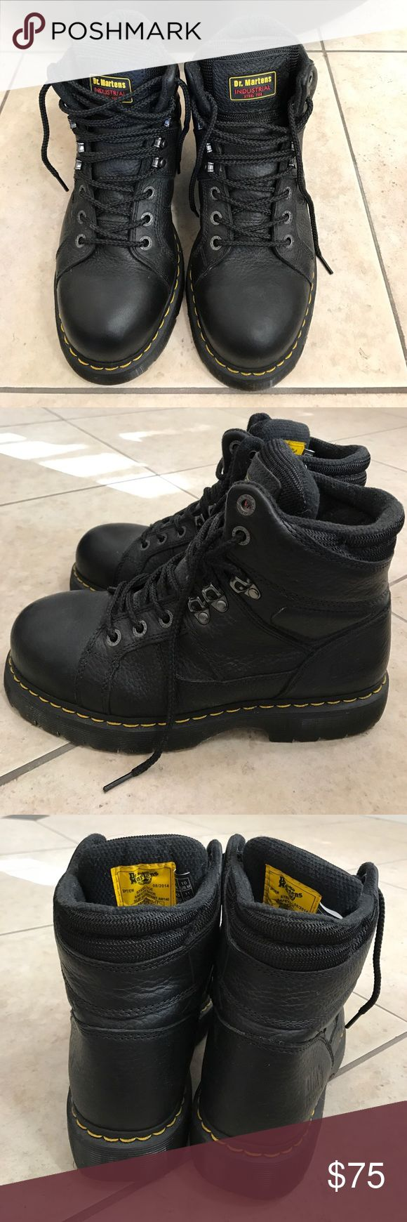 Brand new Dr. Martins industrial steel toe boots Brand new! Never worn. My boyfriend got these and they didn't fit him and he never returned them. They have just been in the bottom of his closet. Make me an offer. Dr. Martens Shoes Boots