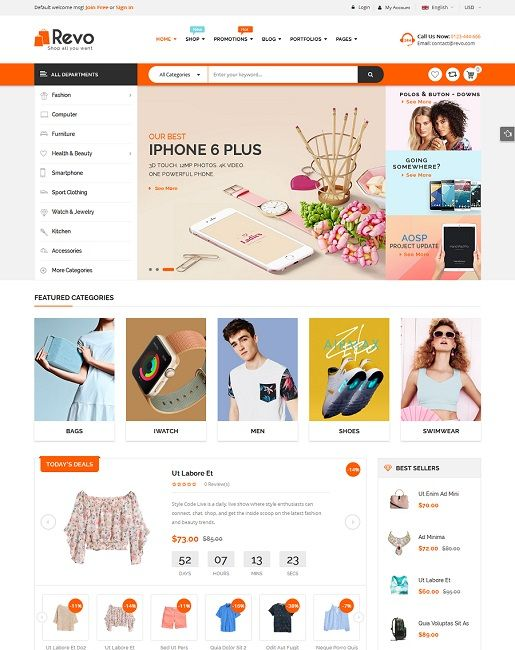 Revo is professional WooCommerce WordPress theme that is evaluated with clean and elegant design. With 5 awesome homepage layouts for multi-categories purpose, Revo surely fits any eCommerce WordPress websites from hitech store, fashion store, beauty shop to baby shop.