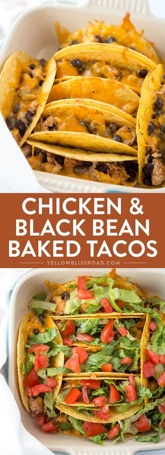 Chicken & Black Bean Oven Baked Tacos - so quick and easy they are perfect for busy weeknight dinners.
