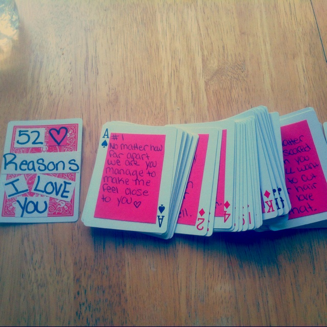 reasons why i love you craft ideas creative way to send a deck of cards write 52 reasons why 8140
