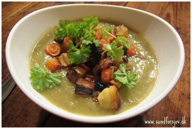 Suppe til kalde årstid- spisskål og brokkoli med purre og løk samt varmende chilli