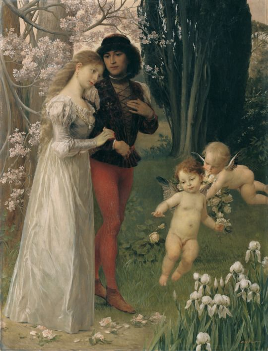 Gustav Klimt (Austrian, 1862 - 1918)   Francesca da Rimini  and Paolo, 1890
