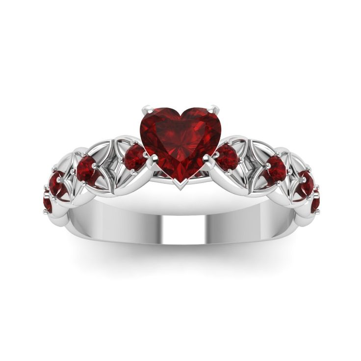 Heart Shaped Ruby Engagement  Colored Engagement Rings with Red Ruby in 950 Platinum exclusively styled by Fascinating Diamonds