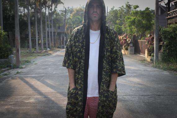fe74133aa Men's Camo Long Japanese Kimono Jacket, Yukata with Hood, Camouflage  Pattern, 100% Cotton