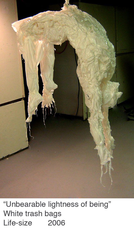 Khalil Chishtee makes sculpture out of plastic bags.