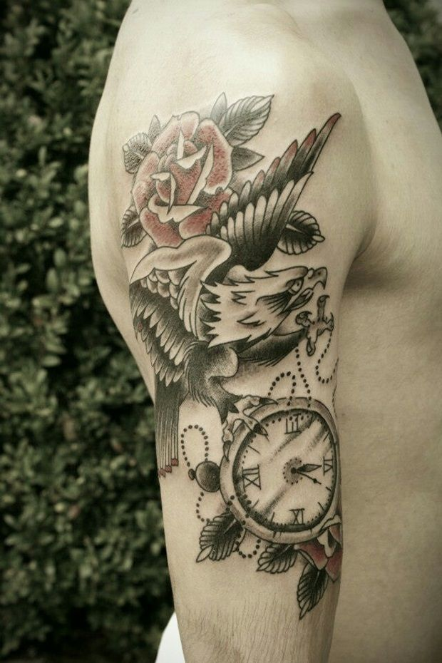 tattos for men - eagle and flower