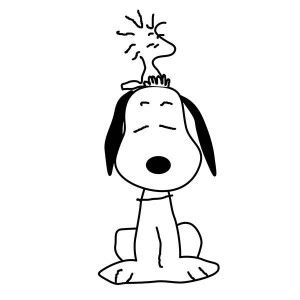 woodstock sitting on snoopy head coloring pages 300x300