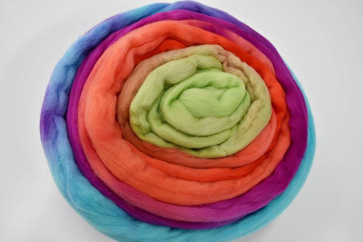 Wool Roving Australian Merino Wool Roving Tops Gradient Felting Wool Spinning Fibre Needle Felting Weaving Fibre Arts Bright Multi 11886 by feltfibrecraft on Etsy