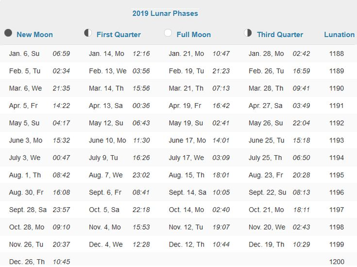 Moon Phases Calendar 2019 with Dates and Time Calendar 2019 in