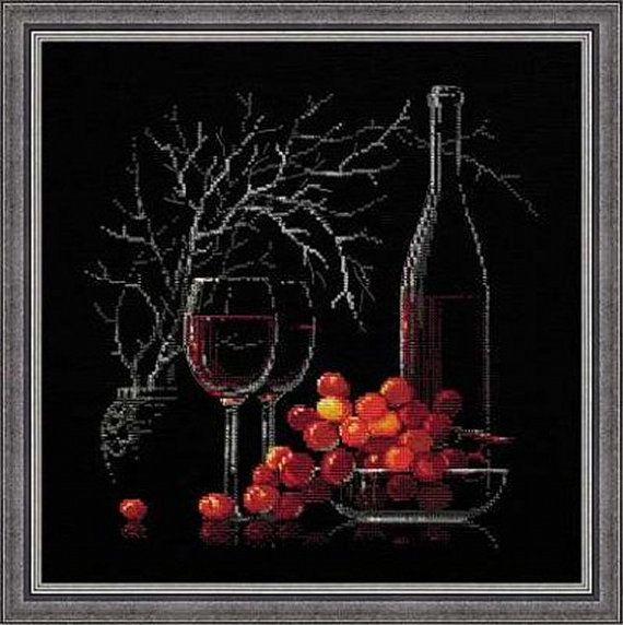 Riolis  Still Life with Red Wine 1239 Counted by DebiCreations, $29.99