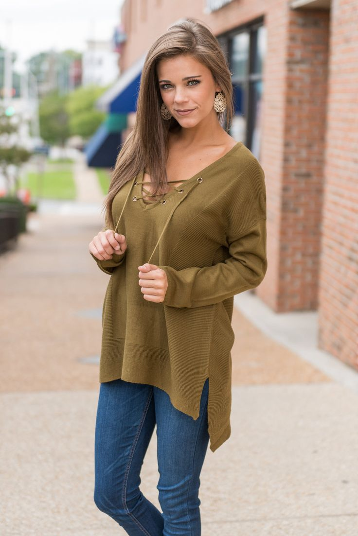 Lace Up Neck Tunic - Olive - The Mint Julep Boutique