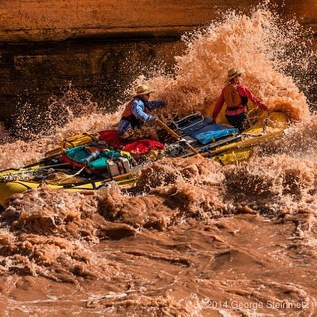Twenty year-old Tanner Porter busts through Upset Rapid on his first trip down the Grand Canyon, with his mother Sue in the bow.  Tanner's parents were married on the south rim, and he is named after a side canyon.  We had five rafts and two kayaks for si