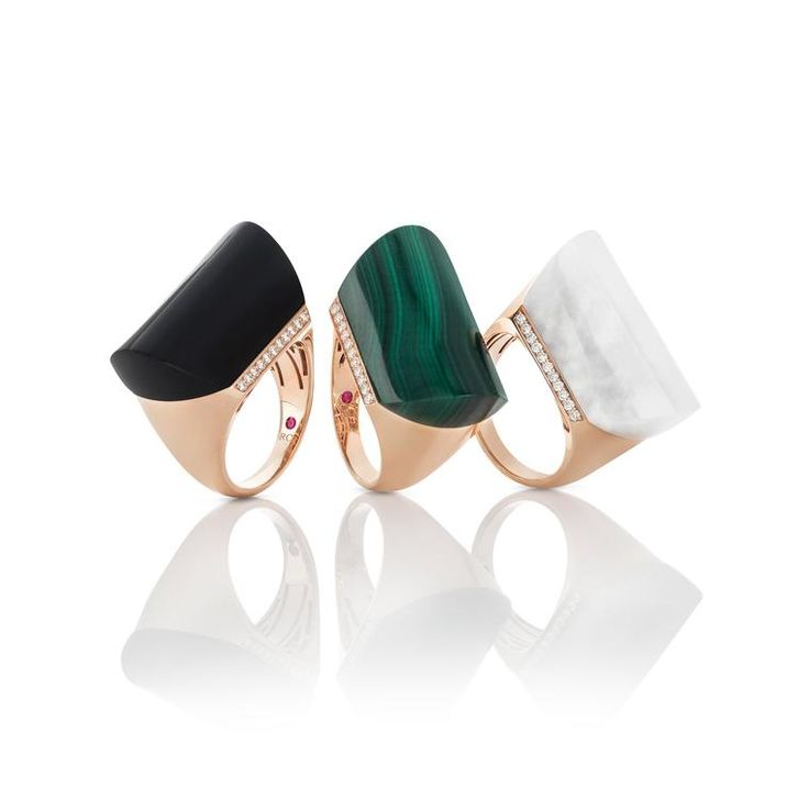 Roberto Coin malachite, black jet or white quartz maxi cocktail ring, set in rose gold with white diamonds. Green is the trend of the season that we saw in the jewellery halls of Baselworld, featuring gemstones of all shades and hues in fashion forward design: http://www.thejewelleryeditor.com/jewellery/article/green-jewellery-trend-emerald-malachite-chrysoprase-jade-tsavorite/ #jewelry