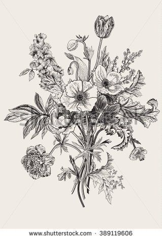 Victorian bouquet. Spring Flowers. Poppy, anemones, tulips, delphinium. Vintage botanical illustration. Vector design element. Black and white. Engraving