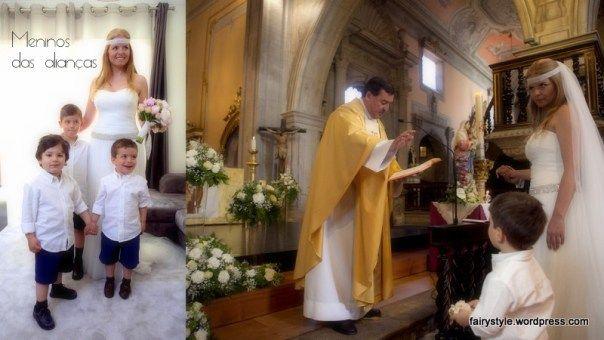 Casamento na igreja.Os meninos das alianças.