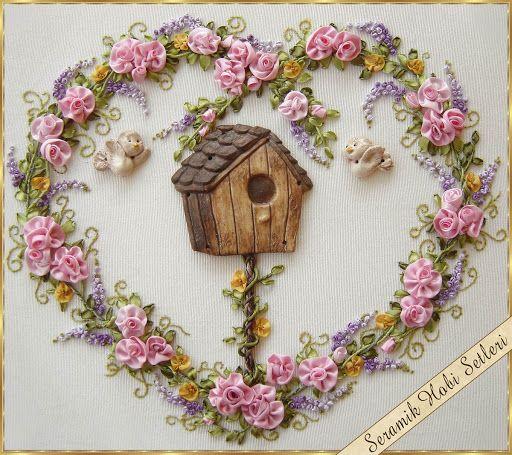 Kits de cerámica Hobby - rosas de cerámica - pintura en madera - objetos de cerámica para el bordado de la cinta: la cinta del bordado Aplicaciones-1