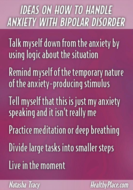 """People with bipolar disorder often experience anxiety. Here are some tips on how to cope with anxiety in bipolar disorder. Breaking Bipolar blog."" www.HealthyPlace.com"