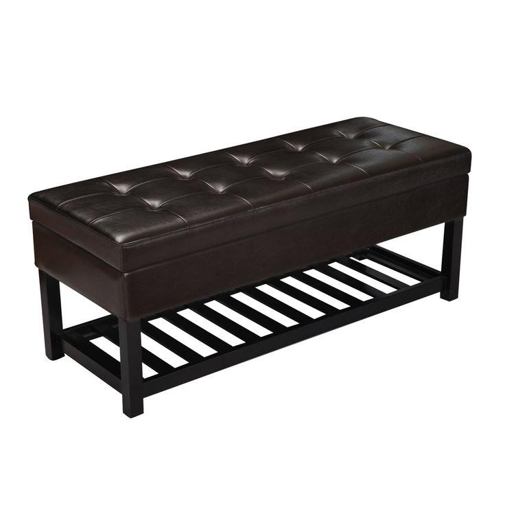 DecentHome Leather Rectangular Storage Bench Ottoman Footstool (Brown Bottom Shelf)