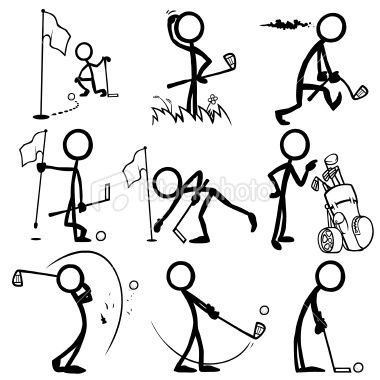 Stickfigure Playing Golf Royalty Free Stock Vector Art Illustration