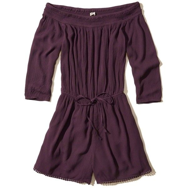 Hollister Off-The-Shoulder Romper (£39) ❤ liked on Polyvore featuring jumpsuits, rompers, purple, playsuit romper, beach rompers, long-sleeve rompers, off the shoulder romper and purple romper