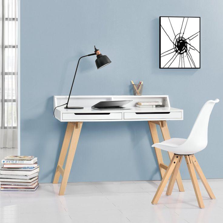 [en.casa] Retro Schreibtisch (85x110x60cm) Weiß matt lackiert Schublade mit Stuhl Weiß: Amazon.de: Küche & Haushalt