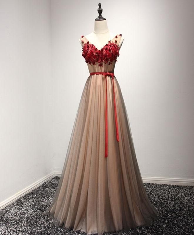 a43b2f7edb3 Cute burgundy lace appliques long V neck handmade prom dress with sash   promdress