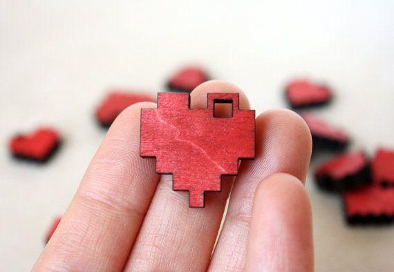 "Rode Pixel hart ketting, Geek Gamer sieraden in berken hout, ""I Love You in Pixels"""