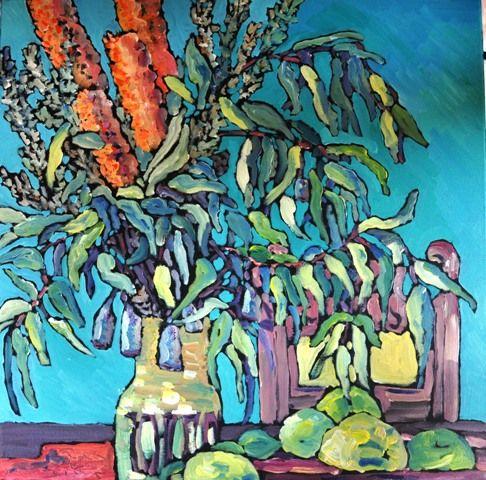 Banksias; acrylic on canvas 90cm x 90 cm