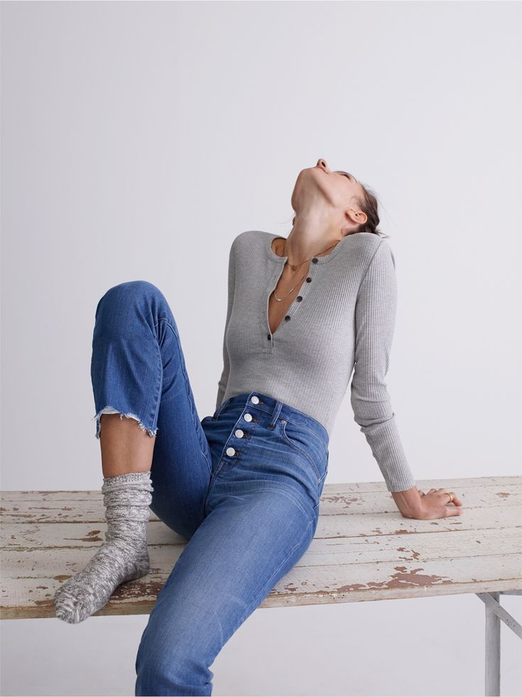 madewell demo henley bodysuit and cali demi-boot jeans worn by madewell graphic design whiz marie.