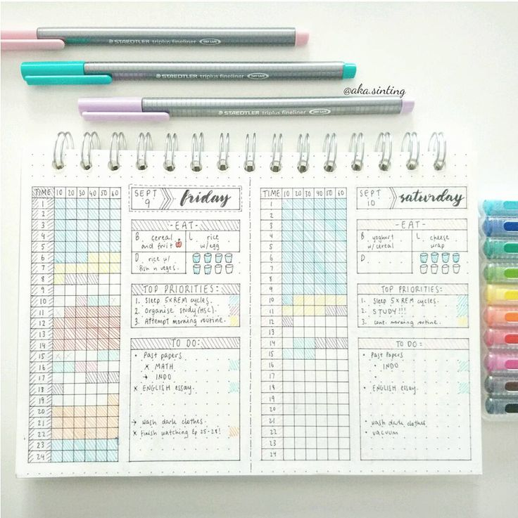Bullet Journal Daily Spread - A ton of photos for ideas and inspiration for your bullet journal daily layout - ForeverGoodLife.com. By aka.sinting