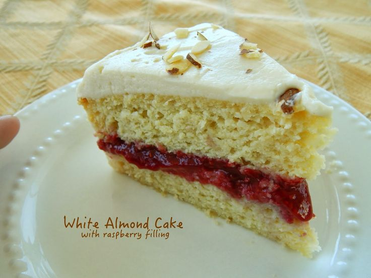 Delicious grain free, sugar free, low carb white almond cake with raspberry filling! 5g net carbs per slice. Amazing!