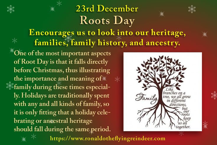 #today 23rd December is #NationalRootsDay #NationalPfeffernusseDay  #festivus  Many people are uninterested in where their ancestors came from…until they start researching the topic deeper.  #Roots #RootsDay #Family #FamilyDay
