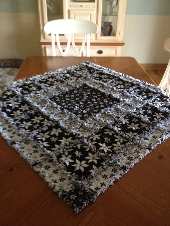 Rag Quilt Table Topper by mpeechatka on Etsy