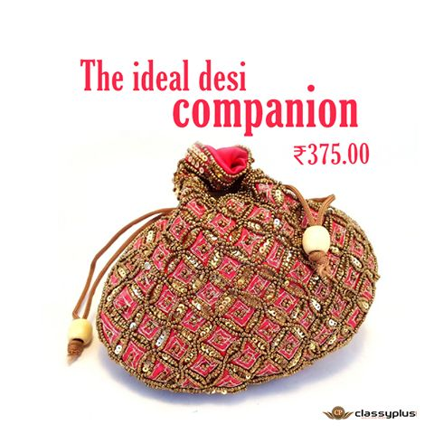 Hand crafted Potli Purse with Beads and Zari Work. Nicely composed pieces in Banarasi and Satin coating. Perfect for teaming up with ethnic attire. #Classyplus #Shopping #WomanAccessories