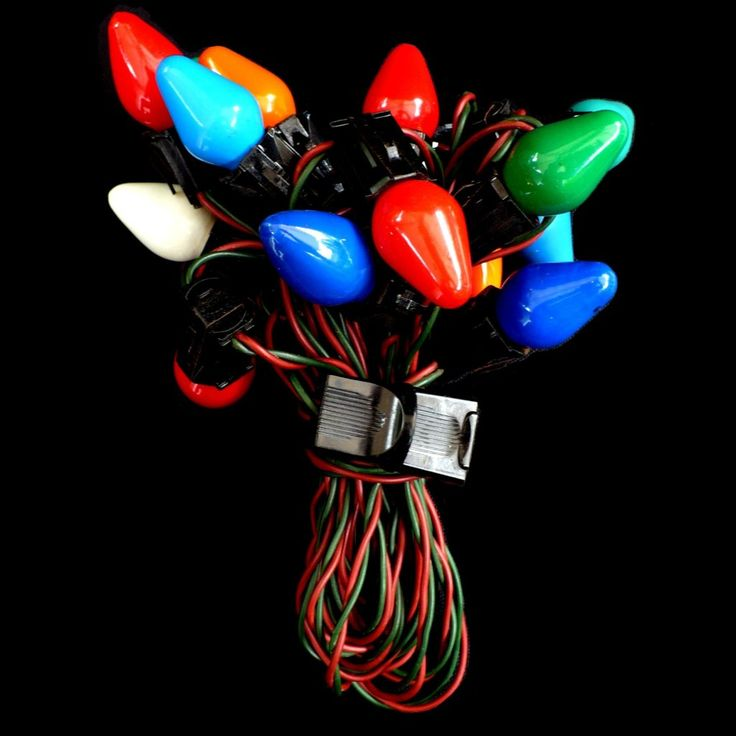 Vintage Christmas Lights With Red Amp Green Cord 15 Multi