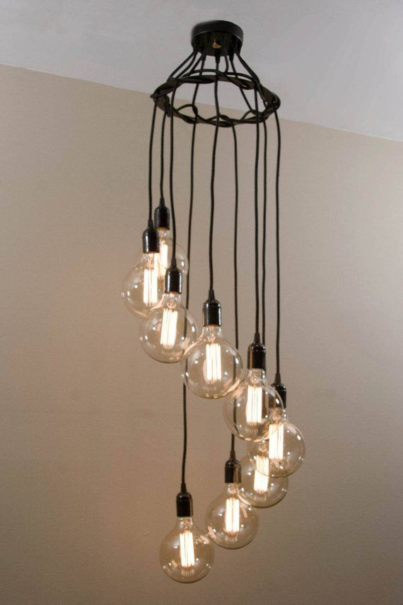 Spiral Chandelier Edison Light Fixture With 9 Pendant Lights Etsy Industrial Pendant Lights Edison Light Fixtures Industrial Light Fixtures
