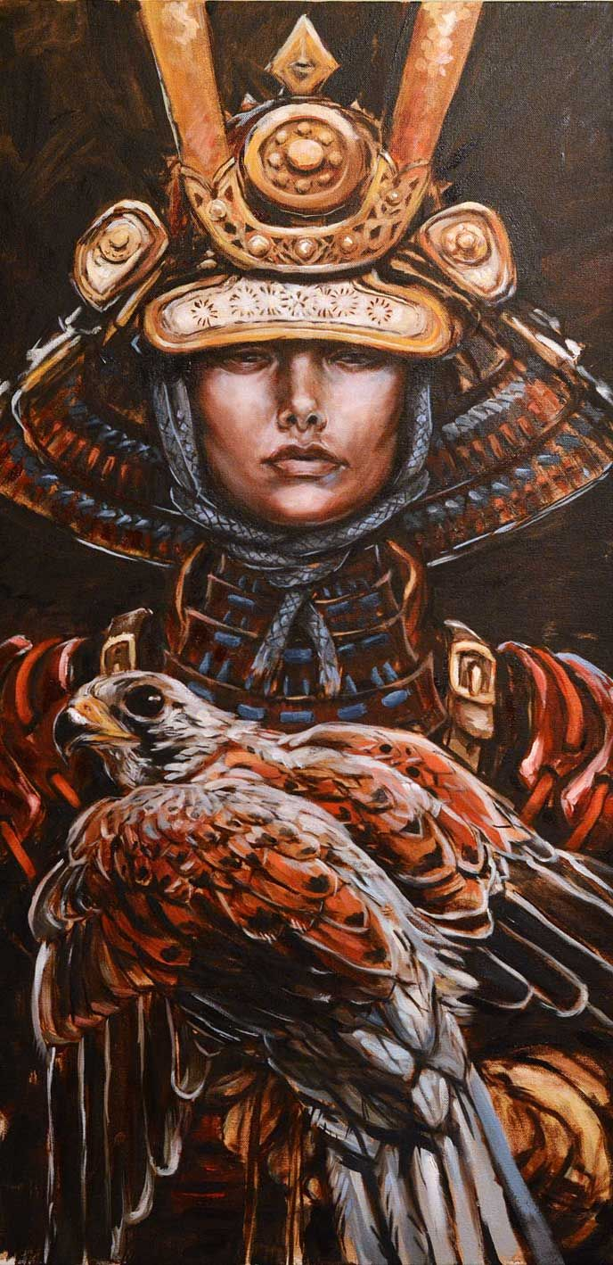 Female Samurai. Wow, helmet and raptor!