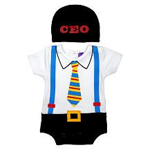 "Sozo Boys White/Black Bodysuit with Faux Tie, Suspenders and Belt with ""CEO"" Hat"