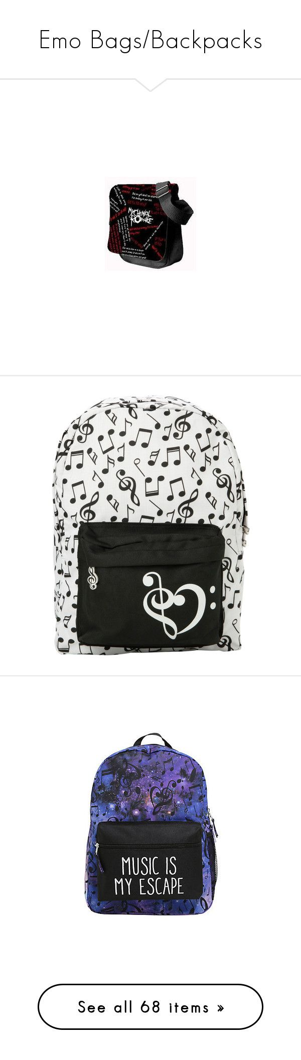 """""""Emo Bags/Backpacks"""" by falloutgirllovesnicodiangelo ❤ liked on Polyvore featuring bags, handbags, shoulder bags, hobo handbags, white hobo purse, hot topic, white purse, white shoulder bag, backpacks and accessories"""