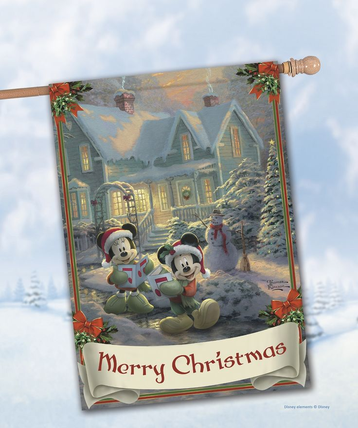 This holiday flag by Hamilton Collection showcases Thomas Kinkade's artwork with Disney's beloved Mickey Mouse and Minnie Mouse.